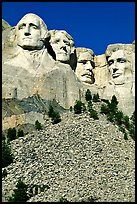 Faces of Four US Presidents carved in stone, Mt Rushmore National Memorial. South Dakota, USA