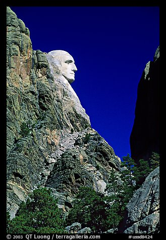 George Washington profile, Mount Rushmore National Memorial. South Dakota, USA (color)