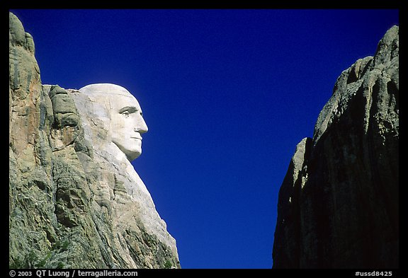 George Washington profile, Mt Rushmore National Memorial. South Dakota, USA (color)