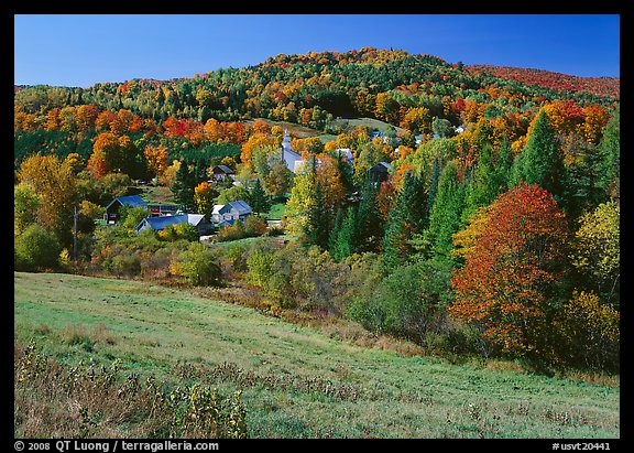East Topsham village in the fall. Vermont, New England, USA (color)