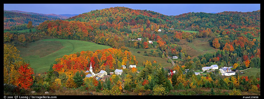 Rural autumn scenery, East Corithn. Vermont, New England, USA (color)