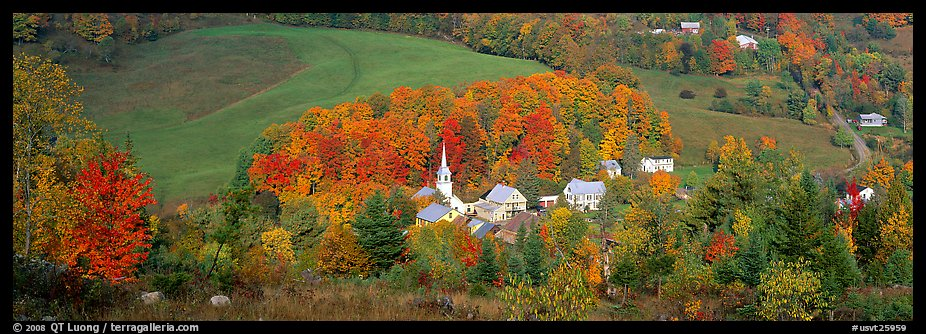 Vermont Village and hill in autumn, East Corithn. Vermont, New England, USA (color)