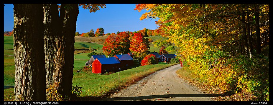 Pastoral view with road and farm in autumn. Vermont, New England, USA (color)