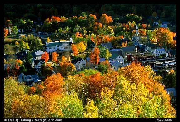 Picture Photo Village Surounded By Trees In Brilliant Fall Colors Vermont New England Usa