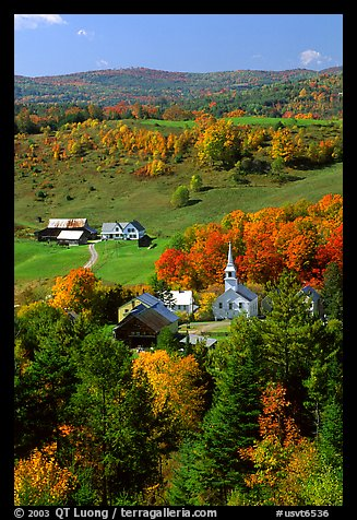 Church and farm,  East Corinth. Vermont, New England, USA (color)