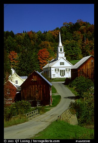 Waits River church. Vermont, New England, USA (color)