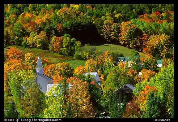 East Topsham village with autumn foliage. Vermont, New England, USA (color)