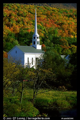 White steepled church in Stowe. Vermont, New England, USA (color)