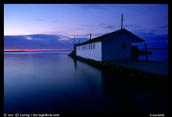 Lake Superior and wharf at dusk, Apostle Islands National Lakeshore. Wisconsin, USA (color)
