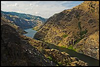 Snake River winding through Hells Canyon. Hells Canyon National Recreation Area, Idaho and Oregon, USA (color)