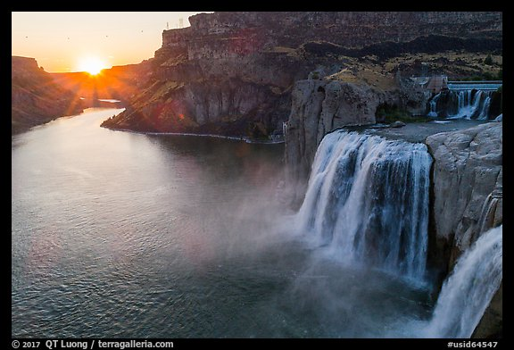 Shoshone Falls with sun setting. Idaho, USA (color)