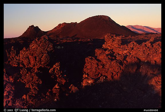 Lava and cinder cones, sunrise, Craters of the Moon National Monument. Idaho, USA (color)