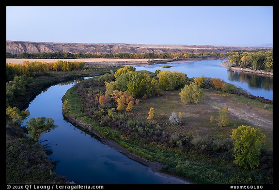 Confluence of the Marias and Missouri Rivers at Decision Point, dusk. Upper Missouri River Breaks National Monument, Montana, USA (color)
