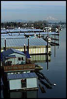 Houseboats and Mt Hood. Portland, Oregon, USA
