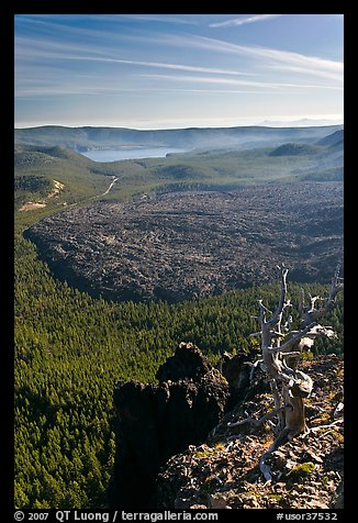 East Lake and big obsidian flow from Paulina Peak. Newberry Volcanic National Monument, Oregon, USA (color)