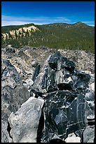 Obsidian and hills. Newberry Volcanic National Monument, Oregon, USA ( color)