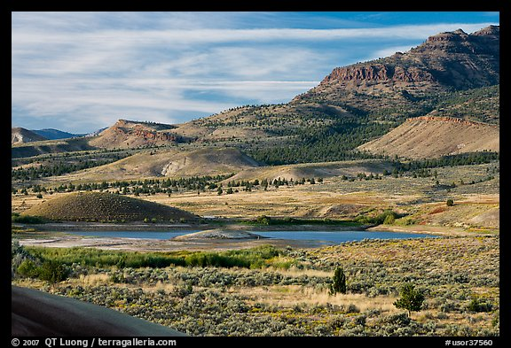 Sagebrush and hills. John Day Fossils Bed National Monument, Oregon, USA (color)