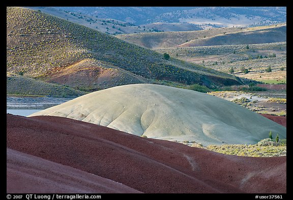 Bare ash mounds and sagebrush-covered slopes. John Day Fossils Bed National Monument, Oregon, USA (color)