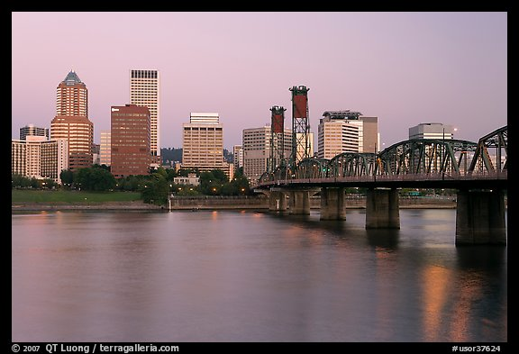 Skyline and Hawthorne Bridge, dawn. Portland, Oregon, USA (color)