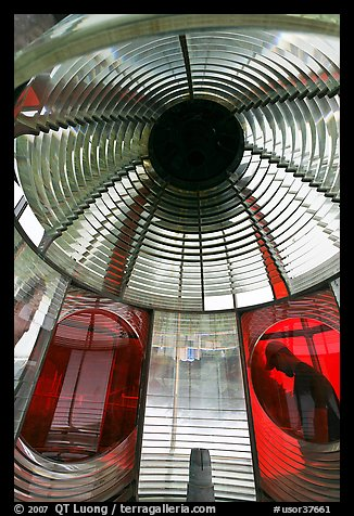 Light and glass prism, Cap Meares lighthouse. Oregon, USA (color)