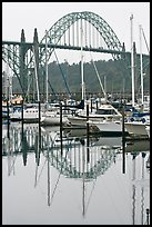 Yacht harbor and Newport Bay Bridge. Newport, Oregon, USA (color)