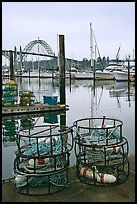 Crab traps and harbor. Newport, Oregon, USA (color)