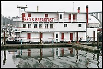 Paddle steamer reconverted into Bed and Breakfast. Newport, Oregon, USA ( color)