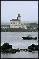 Small boat and Coquille River lighthouse. Bandon, Oregon, USA ( color)