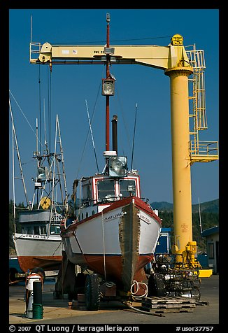 Fishing boats parked on deck, Port Orford. Oregon, USA (color)