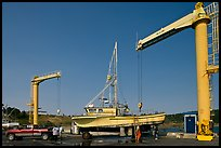 Hoists and fishing boats, Port Orford. Oregon, USA (color)