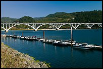 Boat deck and Isaac Lee Patterson Bridge over the Rogue River. Oregon, USA