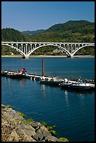 Boat deck and arched bridge, Rogue River. Oregon, USA (color)