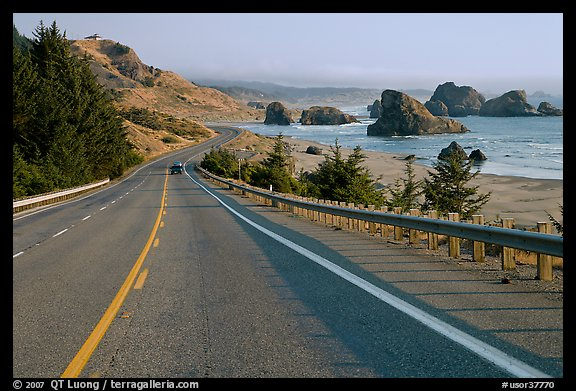 Oceanside road, Pistol River State Park. Oregon, USA (color)