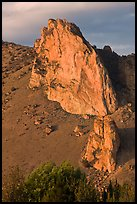 Ryolite outcrop at sunset. Smith Rock State Park, Oregon, USA ( color)