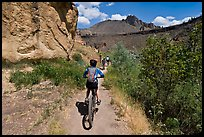 Mountain biking on teh Wolf Tree Trail. Smith Rock State Park, Oregon, USA (color)