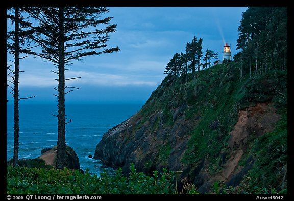 Heceta Head and light beam, twilight. Oregon, USA (color)