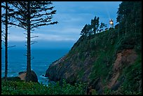 Heceta Head and light beam, twilight. Oregon, USA ( color)