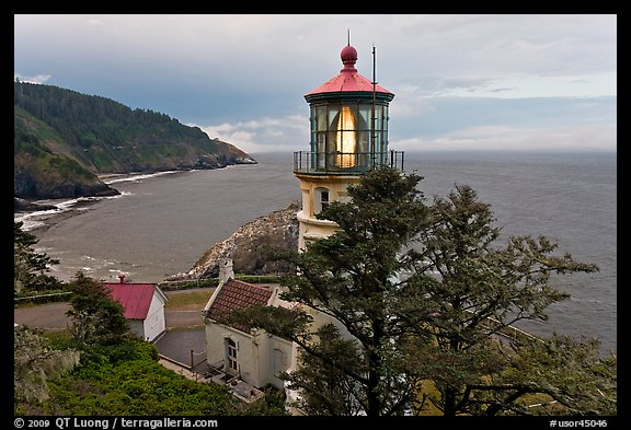 Heceta Head lighthouse and coastline. Oregon, USA (color)