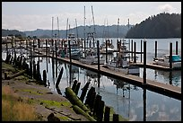 Boats along Siuslaw River, Florence. Oregon, USA (color)