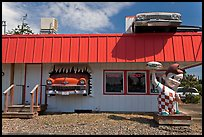 Dinner and built-in hot rod vintage cars, Florence. Oregon, USA (color)