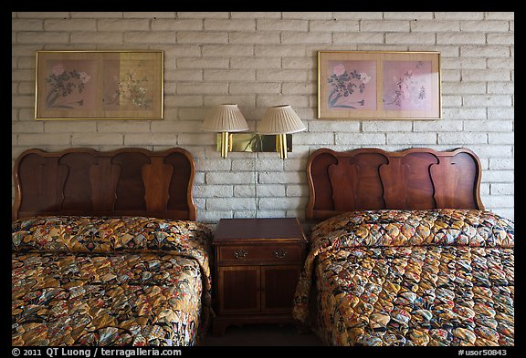 Beds in motel room, Cave Junction. Oregon, USA (color)