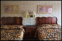 Beds in motel room, Cave Junction. Oregon, USA ( color)