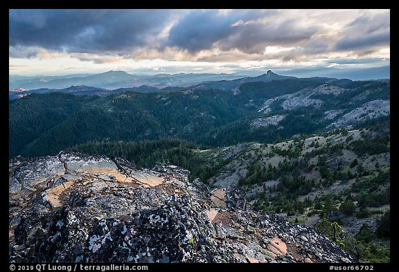 Outcrop and distant Pilot Rock, Hobbart Point. Cascade Siskiyou National Monument, Oregon, USA (color)