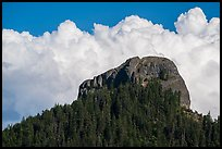 Pilot Rock and afternoon clouds. Cascade Siskiyou National Monument, Oregon, USA ( color)
