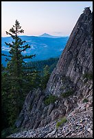 Mt McLoughlin and ridge from Pilot Rock at dusk. Cascade Siskiyou National Monument, Oregon, USA ( color)