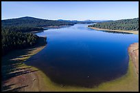 Aerial view of Hyatt Lake blue waters. Cascade Siskiyou National Monument, Oregon, USA ( color)