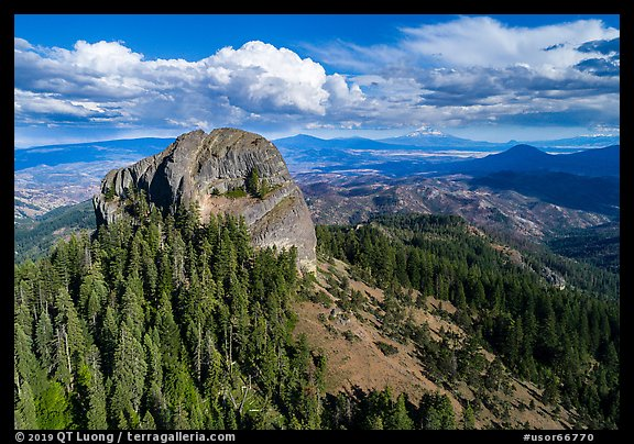 Aerial view of Pilot Rock, Soda Mountain Wilderness, and Mt Shasta. Cascade Siskiyou National Monument, Oregon, USA (color)