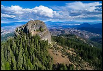 Aerial view of Pilot Rock, Soda Mountain Wilderness, and Mt Shasta. Cascade Siskiyou National Monument, Oregon, USA ( color)