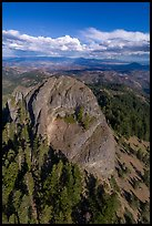 Aerial view of Pilot Rock and Mt Shasta. Cascade Siskiyou National Monument, Oregon, USA ( color)