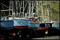 Boats on the deck in Port Orford. Oregon, USA